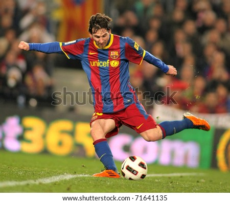 BARCELONA FEB 20 Messi of Barcelona in action during the match between FC Barcelona and Athletic de Bilbao at the Nou Camp Stadium on February 20 2011 in Barcelona Spain