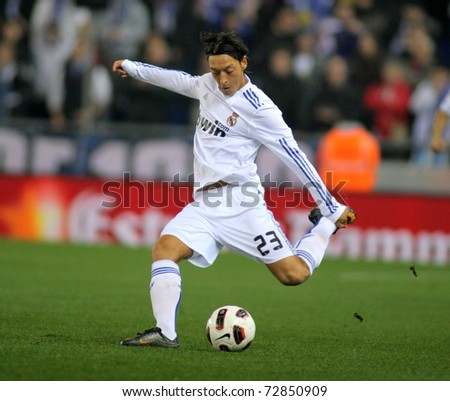 BARCELONA FEB 13 Mesut Ozil of Real Madrid during a spanish league match between Espanyol and Real Madrid at the Estadi Cornella on February 13 2011 in Barcelona Spain