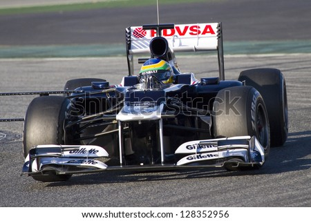 BARCELONA - FEBRUARY 21: Bruno Senna of Williams F1 team racing at Formula One Teams Test Days at Catalunya circuit on February 21, 2012 in Barcelona, Spain.