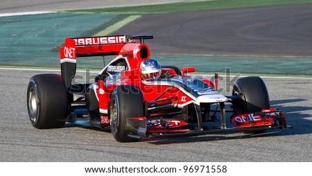 BARCELONA - FEBRUARY 21: Charles Pic of Marussia F1 team races during Formula One Teams Test Days at Catalunya circuit on February 21, 2012 in Barcelona, Spain.