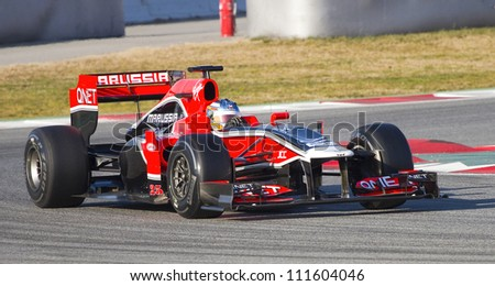 BARCELONA - FEBRUARY 21: Charles Pic of Marussia F1 team racing at Formula One Teams Test Days at Catalunya circuit on February 21, 2012 in Barcelona, Spain.
