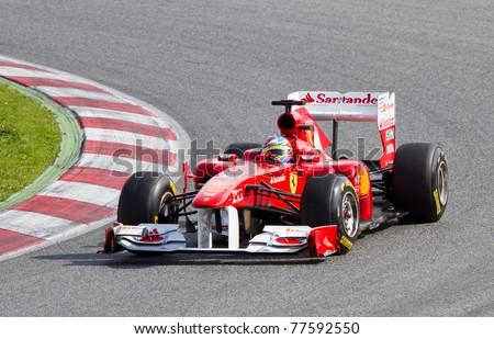BARCELONA - FEBRUARY 18: Fernando Alonso (Ferrari) driving his F1 car during Formula One Teams Test Days at Catalunya circuit, on February 18, 2011 in Barcelona, Spain.
