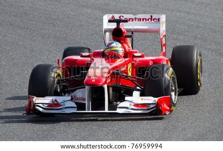 BARCELONA - FEBRUARY 18: Fernando Alonso (Ferrari) tests his F1 car during Formula One Teams Test Days at Catalunya circuit on February 18, 2011 in Barcelona, Spain.