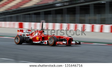 BARCELONA - FEBRUARY 20: Fernando Alonso of Ferrari F1 team at Formula One Test Days at Catalunya circuit on February 20, 2013 in Barcelona, Spain.