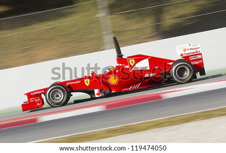 BARCELONA - FEBRUARY 21: Fernando Alonso of Ferrari F1 team racing at Formula One Teams Test Days at Catalunya circuit on February 21, 2012 in Barcelona, Spain.