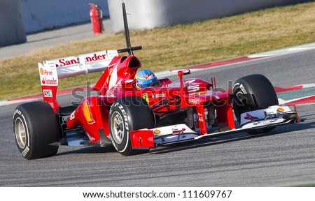 BARCELONA - FEBRUARY 21: Fernando Alonso of Ferrari team racing at Formula One Teams Test Days at Catalunya circuit on February 21, 2012 in Barcelona, Spain.