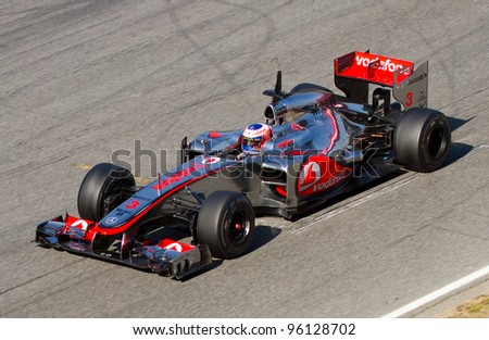 BARCELONA - FEBRUARY 21: Jenson Button of McLaren F1 team races during Formula One Teams Test Days at Catalunya circuit on February 21, 2012 in Barcelona, Spain.