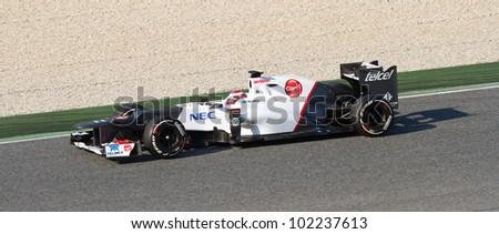 BARCELONA - FEBRUARY 24: Kamui Kobayashi of Sauber F1 team racing at Formula One Teams Test Days at Catalunya circuit on February 24, 2012 in Barcelona, Spain.