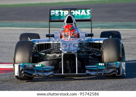BARCELONA - FEBRUARY 21: Michael Schumacher of Mercedes F1 team races during Formula One Teams Test Days at Catalunya circuit on February 21, 2012 in Barcelona, Spain.