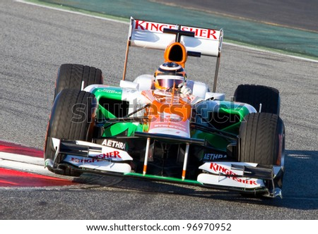 BARCELONA - FEBRUARY 21: Nico Hulkenberg of Force India F1 team races during Formula One Teams Test Days at Catalunya circuit on February 21, 2012 in Barcelona, Spain.