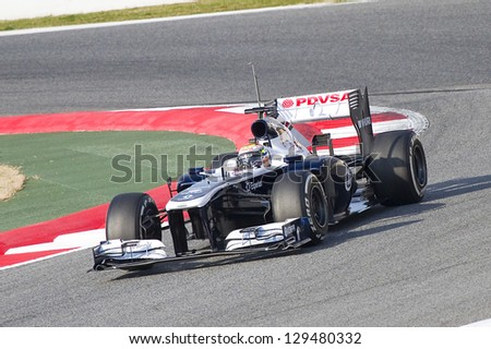 BARCELONA - FEBRUARY 19: Pastor Maldonado racing with his new Williams FW35 at Formula One Teams Test Days at Catalunya circuit on February 19, 2013 in Montmelo, Barcelona, Spain.