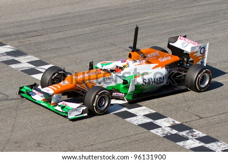 BARCELONA - FEBRUARY 21: Paul Di Resta of Force India F1 team racing during Formula One Teams Test Days at Catalunya circuit on February 21, 2012 in Barcelona, Spain.