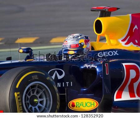 BARCELONA - FEBRUARY 21: Sebastian Vettel of Red Bull F1 team racing at Formula One Teams Test Days at Catalunya circuit on February 21, 2012 in Barcelona, Spain.