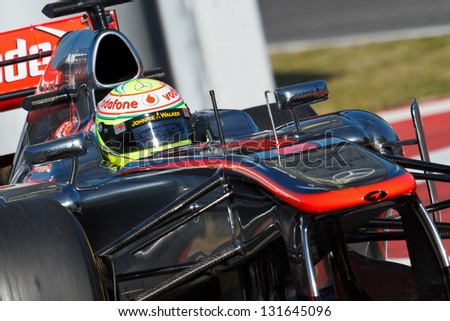 BARCELONA - FEBRUARY 20: Sergio Perez of Vodafone McLaren Mercedes F1 team at Formula One Test Days at Catalunya circuit on February 20, 2013 in Barcelona, Spain.