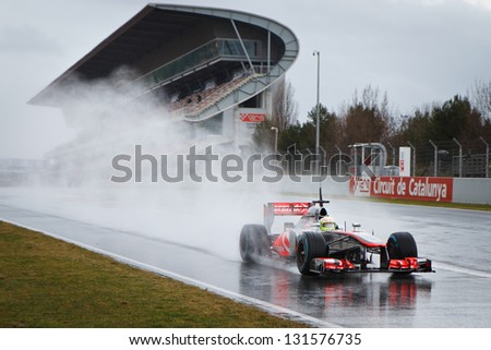 BARCELONA FEBRUARY 28 Sergio Perez of Vodafone McLaren Mercedes F1 team during Formula One Test Days at Catalunya circuit on February 28 2013 in Barcelona Spain