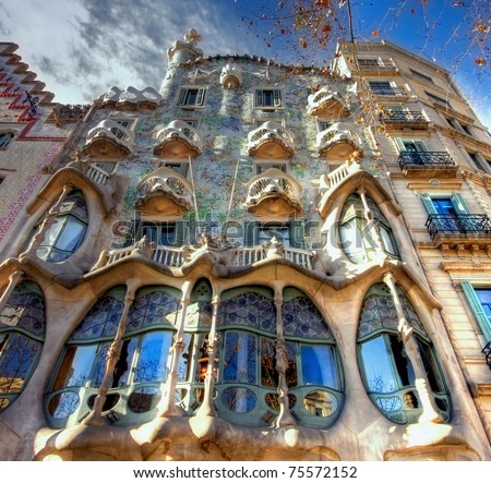 BARCELONA - FEBRUARY 18: The facade of the house Casa Battlo (also could the house of bones) designed  by Antoni Gaudi­ with his famous expressionistic style on February 18, 2011 Barcelona, Spain