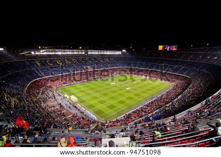BARCELONA - FEBRUARY 2: Unidentified supporters during the Spanish Cup match between FC Barcelona and Valencia CF, final score 2-0, on February 2, 2012, in Camp Nou stadium, Barcelona, Spain.