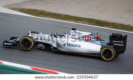 BARCELONA - FEBRUARY 21: Valtteri Bottas of Williams Martini Racing F1 team at Formula One Test Days at Catalunya circuit on February 21, 2015 in Barcelona, Spain.