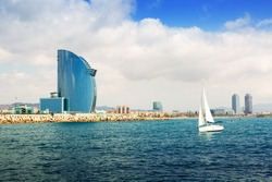 Barcelona from  sea. Barceloneta beach and Port Olimpic