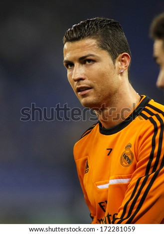 BARCELONA JAN 12 Cristiano Ronaldo of Real Madrid during the Spanish League match between Espanyol and Real Madrid at the Estadi Cornella on January 12 2014 in Barcelona Spain
