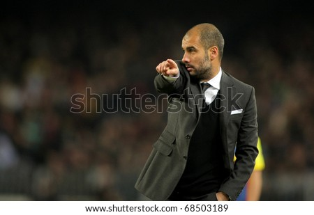 BARCELONA JAN 2 Josep Guardiola of Barcelona during a Spanish League match between FC Barcelona and UD Levante at the Nou Camp Stadium on January 2 2011 in Barcelona Spain