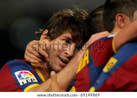 BARCELONA - JAN 12: Messi of Barcelona during a Spanish Cup match between FC Barcelona and Real Betis at the Nou Camp Stadium on January 12, 2011 in Barcelona, Spain