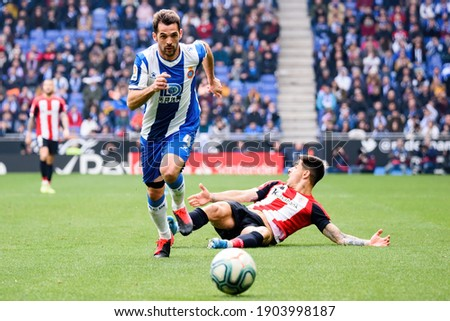BARCELONA - JAN 25: Victor Sanchez plays at the La Liga match between RCD Espanyol and Athletic Club de Bilbao at the RCDE Stadium on January 25, 2020 in Barcelona, Spain.