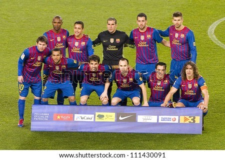 BARCELONA - JANUARY 25: Barcelona players posing for photos  before the Spanish Cup match between FC Barcelona and Real Madrid, final score 2 - 2, on January 25, 2012, in Camp Nou, Barcelona, Spain.