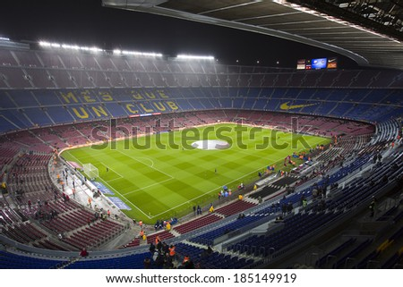 BARCELONA JANUARY 29 Camp Nou stadium before the Copa del Rey Spanish Cup match between FC Barcelona and Levante 5-1 under an intense rain on January 29 2014 in Barcelona Spain