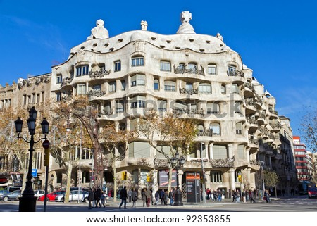 BARCELONA - JANUARY 7: Casa Mila, or La Pedrera, on January 7, 2012 in Barcelona, Spain. This famous building was designed by Antoni Gaudi