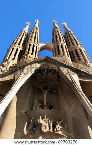 BARCELONA - JANUARY 16: La Sagrada Familia - the amazing cathedral designed by Gaudi, in construction since 1882, after Pope Benedict XVI consecration in 2010. January 16, 2011 in Barcelona, Spain.