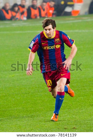 BARCELONA - JANUARY 16: Leo Messi in action during the football Spanish League match between FC Barcelona and Malaga, 4 - 1, in Camp Nou stadium, on January 16, 2011 in Barcelona, Spain.