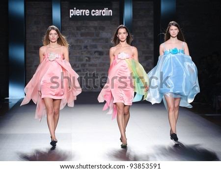 BARCELONA – JANUARY 28: Models walking on the Pierre Cardin catwalk during the 080 Barcelona Fashion runway on January 28, 2012 in Barcelona, Spain.