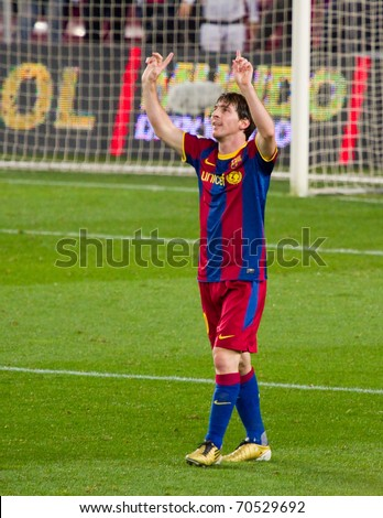 BARCELONA - JANUARY 12: Nou Camp stadium, soccer Spanish Cup match: FC Barcelona - Real Betis, 5 - 0. In the picture, Messi celebrating a goal. January 12, 2011 in Barcelona (Spain).