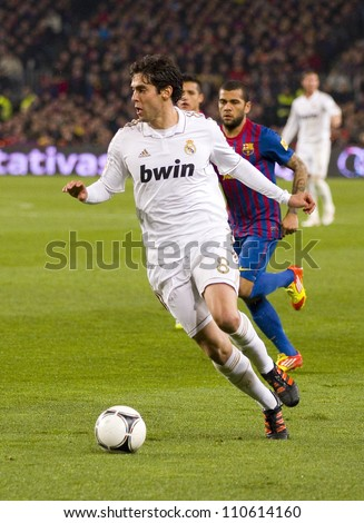 BARCELONA - JANUARY 25: Ricardo Kaka of Madrid in action during the Spanish Cup match between FC Barcelona and Real Madrid, final score 2 - 2, on January 25, 2012, in Barcelona, Spain.