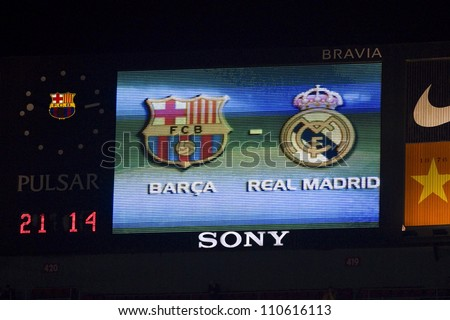 BARCELONA - JANUARY 25: Scoreboard of Camp Nou stadium during the Spanish Cup match between FC Barcelona and Real Madrid, final score 2 - 2, on January 25, 2012, in Barcelona, Spain.