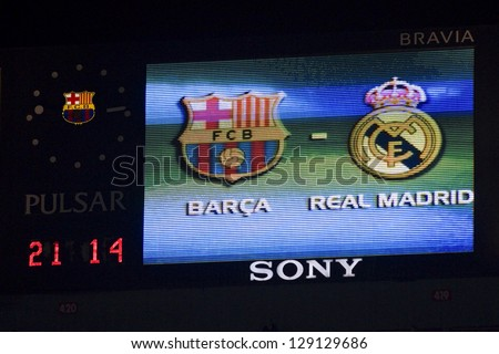 BARCELONA - JANUARY 25: Scoreboard of Camp Nou stadium during the Spanish Cup match between FC Barcelona and Real Madrid, final score 2 - 2, on January 25, 2012, in Camp Nou stadium, Barcelona, Spain.