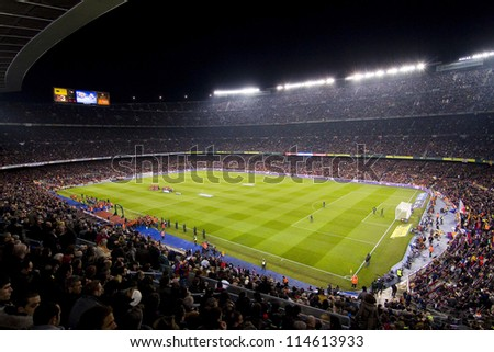 BARCELONA JANUARY 25 View of Camp Nou stadium during Spanish Cup match between FC Barcelona and Real Madrid final score 2 2 on January 25 2012 in Barcelona Spain