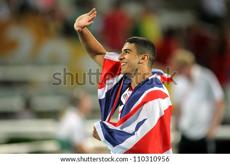 BARCELONA - JULY, 11: Adam Gemili of Great Britain celebrate gold on 100 meters of the 20th World Junior Athletics Championships at the Olympic Stadium on July 11, 2012 in Barcelona, Spain