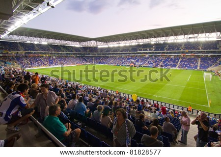 BARCELONA - JULY 27: Cornella stadium during the Ciutat de Barcelona Trophy match between RCD Espanyol and Boca Juniors on July 27, 2011 in Cornella, Barcelona, Spain. Final score, 3-1.