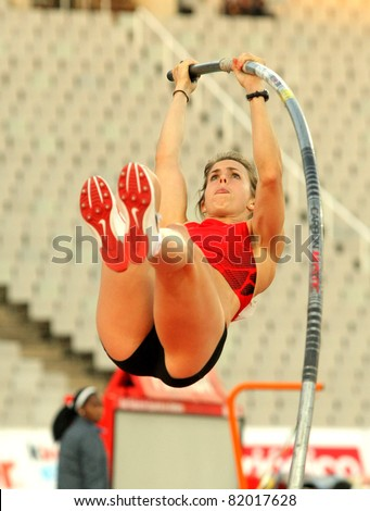 BARCELONA - JULY 22: Kate Dennison of Great Britain in action during Pole Vault Event of Barcelona Athletics meeting at the Olympic Stadium on July 22, 2011 in Barcelona, Spain