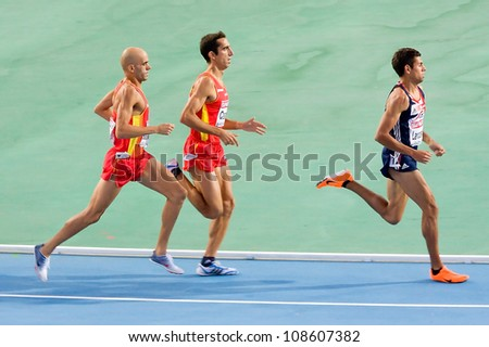 BARCELONA - JULY 28: (L-R) Reyes Estevez, Arturo Casado and Tom Lancashire compete in the final of the 1500 meters during 2010 European Athletics Championships on July 28, 2010 in Barcelona, Spain.
