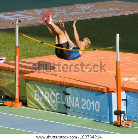 BARCELONA - JULY 28: Mikk Pahapill from Estonia compete at Decathlon High Jump during European Athletics Championships Barcelona 2010, on July 28, 2010 in Barcelona, Spain.