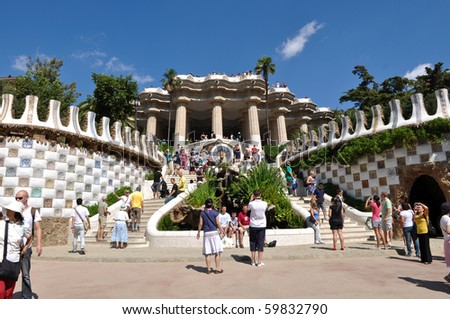 "BARCELONA - JULY 24: Park Guell, a municipal garden designed by Antoni Gaudi July 24, 2010 in Barcelona. Built in 1900 - 1914. Part of the UNESCO World Heritage Site ""Works of Antoni Gaudi""."