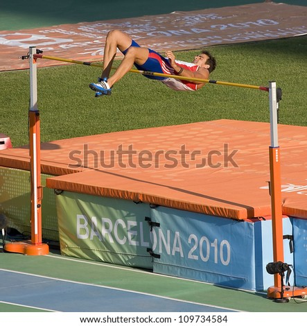 BARCELONA - JULY 28: Romain Barras from France compete at Decathlon High Jump during European Athletics Championships Barcelona 2010, on July 28, 2010 in Barcelona, Spain.