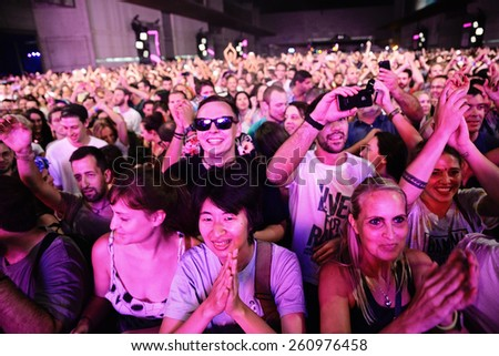 BARCELONA JUN 12 Crowd at Sonar Festival on June 12 2014 in Barcelona Spain
