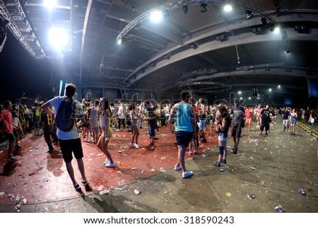 BARCELONA - JUN 19: Crowd dance in a concert at Sonar Festival on June 19, 2015 in Barcelona, Spain. #318590243