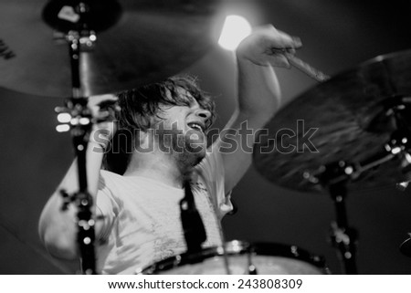 BARCELONA - JUN 4: The drums player of The Black Box Revelation (band) performs at Discotheque Razzmatazz on June 4, 2010 in Barcelona, Spain.