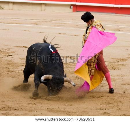 """BARCELONA - JUNE 6: """"Corrida"""" (bullfight) of bulls, a typical Spanish tradition where a torero (bullfighter) kills a bull. In the picture, """"Morante de la Puebla"""". June 6, 2010 in Barcelona (Spain)."""