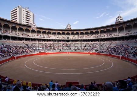 "BARCELONA - JUNE 6: ""Corrida"" (bullfight) of bulls, typical Spanish tradition where a torero (bullfighter) kills a bull. June 6, 2010 in Barcelona (Spain)."